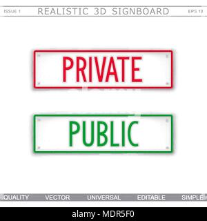 Private. Public. Information stylized signboard. Top view. Vector design elements - Stock Photo