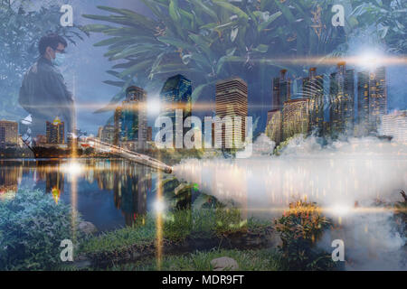 Abstract man work fogging to eliminate mosquito for preventing spread dengue fever and zika virus in city background - Stock Photo