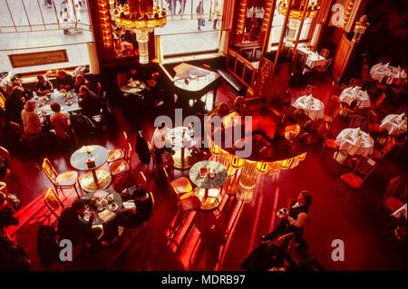 Prague, Czech Republic; Art Nouveau cafe in Obecni Dum (Municipal House) - Stock Photo