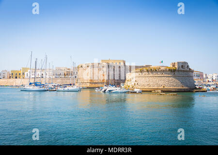 The harbour and the old walls of Gallipoli, Puglia Region - South Italy - Stock Photo