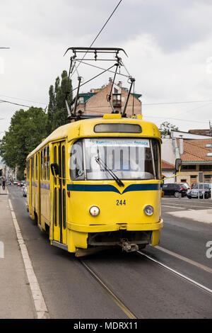 Sarajevo, Bosnia-Herzegovina, July 16 2017: Sarajevo Tram, Tatra K2 series in the suburb of Sarajevo - Stock Photo