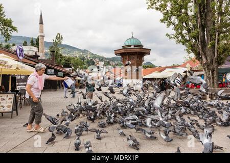 Sarajevo, Bosnia-Herzegovina, July 16 2017: Woman feeds pigeons in front of the Sebilj fountain in historical city center - Stock Photo