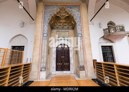 Sarajevo, Bosnia-Herzegovina, July 16 2017: Architectural close up of the doorway of Gazi Husrev-beg mosque in Sarajevo - Stock Photo