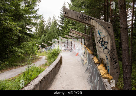 Sarajevo, Bosnia-Herzegovina, July 16 2017: The former 1984 Olympic bobsleigh and luge run in the mountains outside of Sarajevo - Stock Photo