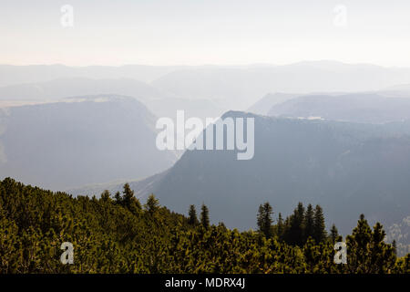 Valley during a hazy day in Durmitor National Park in Dinaric Alps, Montenegro - Stock Photo