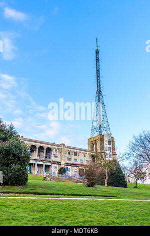 Alexandra Palace, a Grade II listed entertainment and sports venue in North London, UK, showing the old BBC TV transmitter mast - Stock Photo