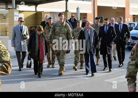 U.S. Ambassador to Italy Lewis Eisenberg visited with leaders from U.S. forces at Caserma Del Din, Vicenza, Italy, Dec. 5, 2017. He met with Col. James Bartholomees, 173rd Airborne commander, Col. Howard C.  Kirk, U.S. Army Africa chief of staff; Col. Erik M. Berdy, U.S. Army Garrison Italy commander, Col. Richard D. Conkle, 207th Military Intelligence Brigade commander and Col. Umberto D'Andria, Italian Base Commander Caserma Ederle of Vicenza. (U.S. Army photo by Paolo Bovo) - Stock Photo