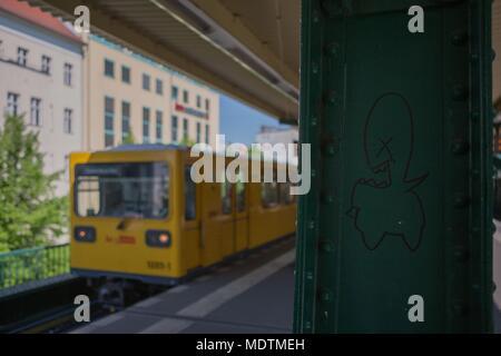 Germany, Berlin, Prenzlauer Berg, S-Bahn, train, metro, public transport, graffiti on a pillar, - Stock Photo