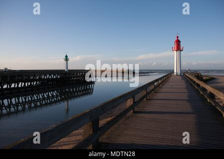 France, Lower Normandy, Calvados, Côte Fleurie, Trouville-sur-Mer, beach, pier, boom, lighthouse, sea - Stock Photo