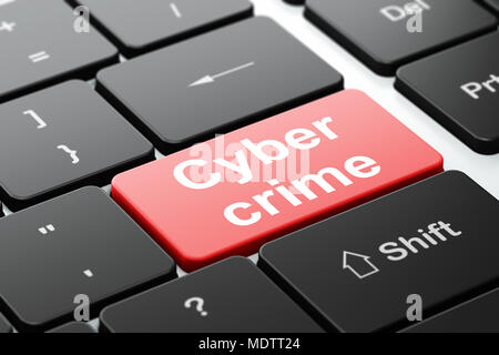 Protection concept: computer keyboard with word Cyber Crime, selected focus on enter button background, 3D rendering - Stock Photo