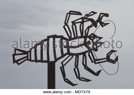 Squat lobster (Munidopsis polymorpha) sculpture. La Corona Natural Monument. Lanzarote. Canary Islands. Spain. - Stock Photo