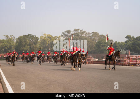 North Block, New Delhi, India, 26 January 2018: Soldiers of Indian Army marching at Rajpath 'King's Way' a ceremonial boulevard as they take part in r - Stock Photo