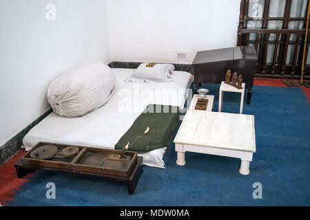 ascetic living conditions of Mahatma Gandhi in the house of the Museum where he lived the last days of his life - Stock Photo