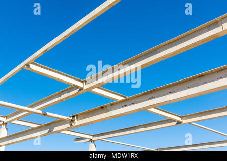 Steel structure and connecting joint for roofing., Steel frame. - Stock Photo