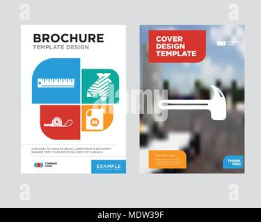 hammer brochure flyer design template with abstract photo background