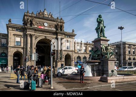 hauptbanhof central railway station landmark in old town of zurich switzerland - Stock Photo