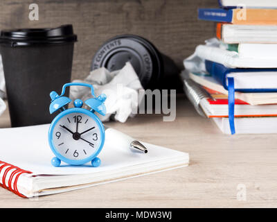 Still life round clock on stack of books. Education and learning concept. Invest time in studies. Time to upgrade ideas. Increase knowledge. Back to school. Copy space for text. Time read more. - Stock Photo