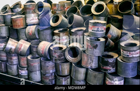 Oswiecim / Poland - 02.15.2018: Exhibition of empty cans of zyklon gas poison that have been used to exterminate people in Auschwitz Concentration Cam - Stock Photo