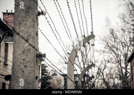 Barbed wire fence around Auschwitz concentration camp. Auschwitz ...