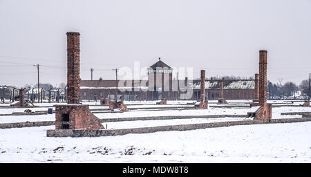 Oswiecim / Poland - 02.15.2018: General view on the Concentration Camp in Auschwitz Birkenau. - Stock Photo