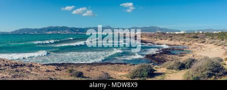 Panoramic view on the beach in Palma de Mallorca / Majorca - Stock Photo
