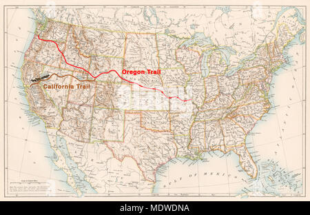 Oregon Trail On Us Map.Oregon Trail Route On An 1870s Map Of The Us Digital Illustration