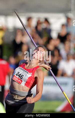 Lucerne, Switzerland. 17th, Jul 2012.  Rebryk Vira of Ukraine in action during the Women's Javelin Throw event of the Meeting athletics competition at - Stock Photo