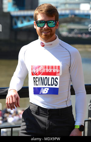 Brian Reynolds (USA) at a Virgin Money London Marathon pre-race photocall of elite disabled athletes, Tower Hotel, London, UK.  Reynolds set the official double below-the- knee amputee world record at the Chicago Marathon in October 2017 when he ran 3:06:31. At age four he had both of his legs amputated below the knee because of complications after contracting meningitis. He is aiming to run the first sub-3:00 marathon by a double leg amputee.   The marathon, due to take place on Sunday 22 April is part of the World Marathon Majors and also the World Para Athletics Marathon World Cup. - Stock Photo