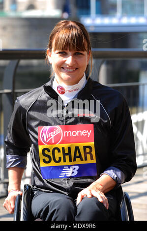 Manuela Schär (SUI) at a Virgin Money London Marathon pre-race photocall of elite disabled athletes, Tower Hotel, London, UK.  Schär won the world marathon title in 2013 and became the joint official world record holder when she clocked 1:38:07 in Oita later that year. Last year she became the fastest woman wheelchair racer in history when she clocked 1:28:17 in Boston, beating the previous best by almost six minutes.  The marathon, due to take place on Sunday 22 April is part of the World Marathon Majors and also the World Para Athletics Marathon World Cup. - Stock Photo