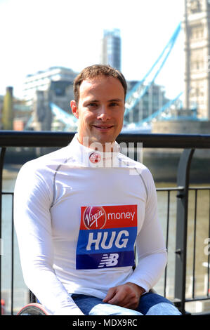 Marcel Hug (SUI) at a Virgin Money London Marathon pre-race photocall of elite disabled athletes, Tower Hotel, London, UK.  Hug is the most successful male wheelchair marathon athlete of modern times. He is the reigning Paralympic and World Marathon Majors champion, and a two-time London Marathon winner. He won every WMM race in 2016 but was narrowly beaten by Japan's Sho Watanabe in Tokyo last February. He bounced back in Boston last April, when he clocked the fastest time in history, and was just beaten by Weir in London six days later.   The marathon, due to take place on Sunday 22 April is - Stock Photo