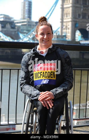 Tatyana McFadden (USA) at a Virgin Money London Marathon pre-race photocall of elite disabled athletes, Tower Hotel, London, UK.  McFadden dominated women's marathon racing for four years, going undefeated in Boston, London, Chicago and New York from 2012 to 2016, and won 13 races in a row until beaten in Tokyo in February 2016. In 2013 she became the first athlete to win all four in one year, and repeated the feat each year until 2017.  The marathon, due to take place on Sunday 22 April is part of the World Marathon Majors and also the World Para Athletics Marathon World Cup. - Stock Photo