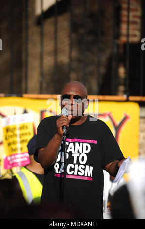 London, UK. 20th April, 2018. Weyman Bennett (Stand Up To Racism Co-Convenor) speaking at a Windrush Generation Solidarity demonstration, London, United Kingdom.  The demonstration was called in response to the Home Office's incompetence and  bureaucratic brutality towards the Windrush generation.   Credit: Michael Preston/Alamy Live News - Stock Photo