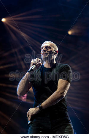 Chamonix, France. 20th April 2018. IAM (singer Philippe Fragione aka Akhenaton) performing live at the first edition of MUSILAC Mont-Blanc music festival in Chamonix (France) - 20 April 2018 Credit: Olivier Parent/Alamy Live News - Stock Photo