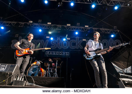 Chamonix, France. 20th April 2018. Raqoons performing live at the first edition of MUSILAC Mont-Blanc music festival in Chamonix (France) - 20 April 2018 Credit: Olivier Parent/Alamy Live News - Stock Photo
