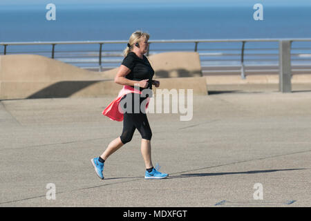 Blackpool Lancashire. UK Weather. 21/04/2018.  Sunny start to the day on the Fylde Coast as the north-west coast experiences the hottest temperatures so far this week. Credit: MediaWorldImages/AlamyLiveNews - Stock Photo