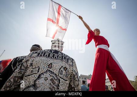 London, UK. 21st April, 2018. The Feast of St George celebrations in Trafalgar Square. Credit: Guy Corbishley/Alamy Live News - Stock Photo