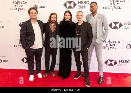 NEW YORK, NY - APRIL 20: Sam Boyd, Michael Angarano, Dree Hemingway, Patrick Gibson, Jay Ellis attend the 'In A Relationship' screening during the 2018 Tribeca Film Festival at SVA Theater on April 20, 2018 in New York City. Credit: Ron Adar/Alamy Live News - Stock Photo
