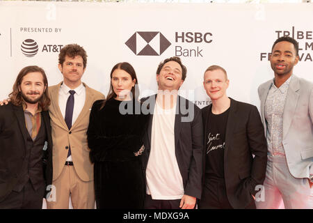 NEW YORK, NY - APRIL 20: Michael Angarano, Andre Hyland, Dree Hemingway, Sam Boyd, Patrick Gibson, Jay Ellis attend the 'In A Relationship' screening during the 2018 Tribeca Film Festival at SVA Theater on April 20, 2018 in New York City. Credit: Ron Adar/Alamy Live News - Stock Photo