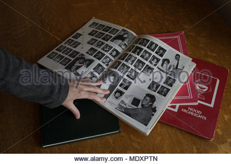 Yearbooks from the 1990's in New England, USA. - Stock Photo