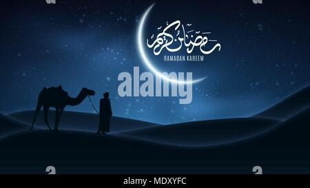 Background for Ramadan Kareem. Night landscape. Arabic calligraphy. Muslim Religion Holy Month. Arab stands with a camel in the desert. The starry sky - Stock Photo