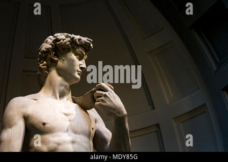 Close-up of 'Michelangelo's David' sculpture with dome in the background; Florence, Tuscany, Italy - Stock Photo