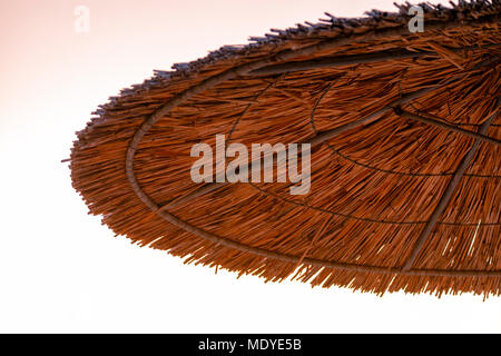 Closeup of a reed parasol seen from below at dusk - Stock Photo