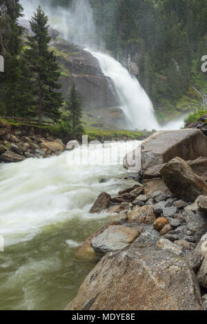 Rushing waters of the Krimml Waterfall in the Hohe Tauern National Park in the European Alps, Salzburger Land, Austria