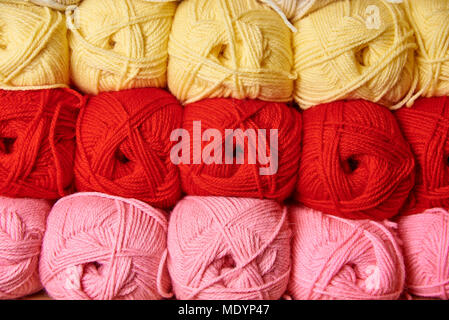 Tangles of multi-colored yarn for knitting - Stock Photo