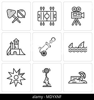 Set Of 9 simple editable icons such as Sand, Elephant, Walk of fame, Sharks, Cannon, Playground, Video camera, Soccer, Candy, can be used for mobile,  - Stock Photo