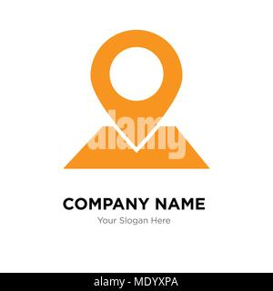 Placeholder on map paper in perspective company logo design template, Business corporate vector icon - Stock Photo