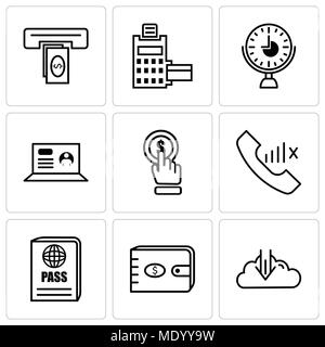 Set Of 9 simple editable icons such as rocket, purse, passport, slow network, click, laptop, clock, pos terminal, cash, can be used for mobile, web UI - Stock Photo