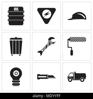 Set Of 9 simple editable icons such as truck, knife, setting lamp, roller, adjustable wrench, trash, header, danger, oil, can be used for mobile, web  - Stock Photo