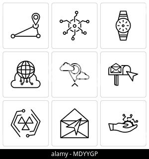 Set Of 9 simple editable icons such as Development, Mail, Cells, email box, Placeholder, Cloud computing, Smartwatch, Analytics, Pin, can be used for  - Stock Photo