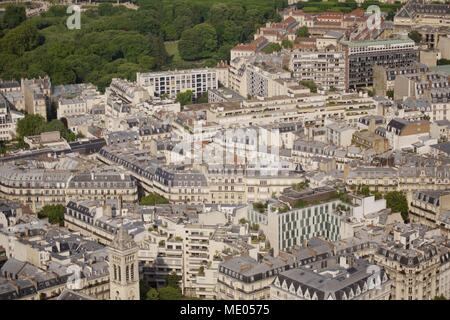 Aerial view of Paris from the 56th floor of the Tour Montparnasse, 6th arrondissement, derrière Notre-Dame des Champs, Rue Guynemer - Stock Photo